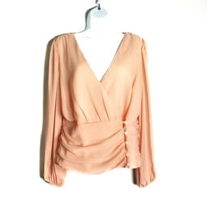 asos peach sheer  long sleeve wrap blouse